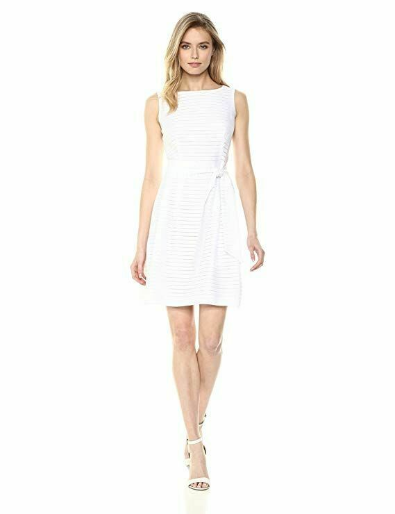 New $99 Anne Klein Solid Shadow Stripe Fit & Flare White Dress Sz 4 Bridal