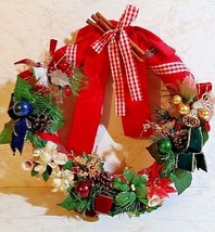 Vintage Festive Christmas Wreath W/Antique Christmas Corsages From the 1... - €29,63 EUR