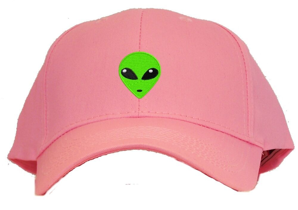 Green Alien Head Embroidered Baseball Cap - Available in 7 Colors - Hat