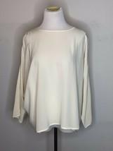 ESKANDAR Womens Ivory Silk Blouse Flowy Long Sleeve Boat Neck Top Sz 1 - $79.95
