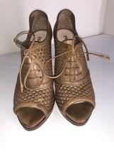 PRADA Brown Perforated Open Toe Sandals Heels 37 - $32.38