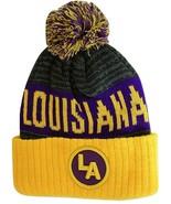 Louisiana LA Patch Ribbed Cuff Knit Winter Hat Pom Beanie (Gold/Purple P... - $11.95
