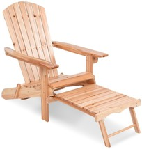 Wood Folding Adirondack Chair Outdoor Patio Seat With Footrest Ottoman S... - $99.04
