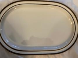 "Noritake Stoneware Serving Platter Japan OVAL 14-1/4"" x 9-3/8"" Brown Rimmed Edge - $39.00"