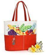 Cotton CANVAS TOTE BAG Orange PARISIAN FARMERS MARKET Shopping Beach Gro... - $12.95