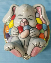 Easter Bunny Rabbit MAC Ceramic Figurine Candy Covered Dish Holiday Pink... - $26.95