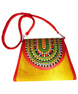 Zonnie Zania Indian Embroidered Purse Medium Yellow - $31.20