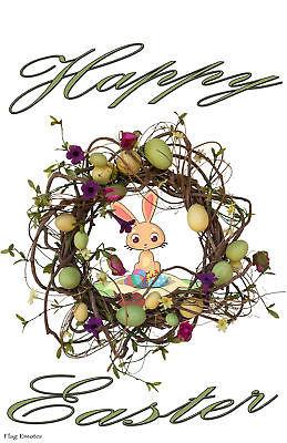 Happy Easter Wreath Bunny Eggs Double Sided Holiday Garden Flag Emotes Decor - $12.99