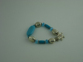 "HANDCRAFTED ARTISAN BRACELET BEADS SWAROVSKI CRYSTALS TURQUOISE...SIZE 7.5"" - $12.82"
