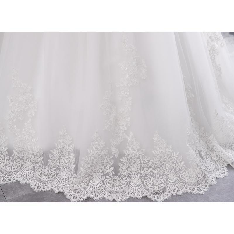 High Neck IIIusion Back Long Sleeve Wedding Dress Lace Ball Gown Wedding Gowns image 3