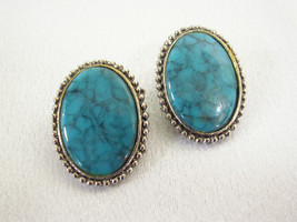 DENISE Faux TURQUOISE Oval Cabs Silver Plate Beaded Frame Clip Earrings ... - $15.83