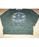 Size 6-7 Small Hanes Army Green Rebel to the Bone Sweatshirt Top Skull G... - $12.00