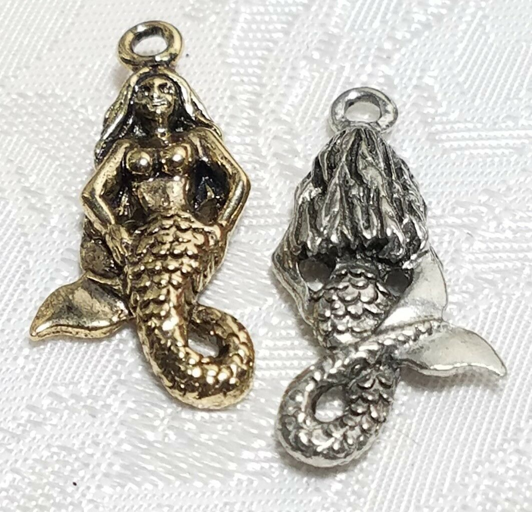 MERMAID W/ CURLED TAIL FINE PEWTER PENDANT CHARM - 14mm L x 28mm W x 5mm D