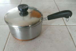 Vintage REVERE WARE 1801 USA 2 Qt Sauce Pan & Lid Stainless & Copper Bottom - $27.99