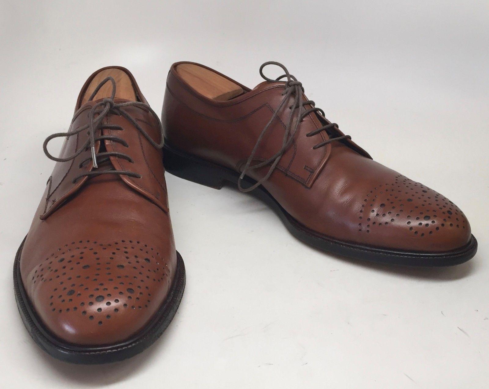 d40e7e48f6e ... Salvatore Ferragamo Studio Tan Perforated Cap-Toe Oxfords Size 9D Made  in Italy ...