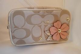 Coach Khaki Chalk Signature Flower Applique Purse Case Pouch Bag - $79.20