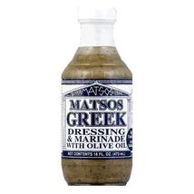 Matso's Greek Dressing and Marinade, 16 Oz - Case of Six Glass Bottles - $29.99