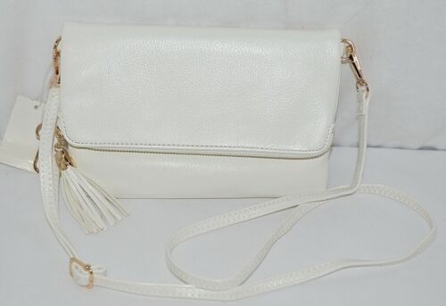 New White WU037 Womens Gold Zipper Detachable Shoulder Strap Purse