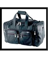 "17"" Black Buffalo Leather Gym Bag Tote Duffle Luggage Carry- - $23.99"