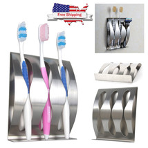 Wall Mount Toothbrush Holder Stainless Steel Home Bathroom Rack Stand Or... - $11.03