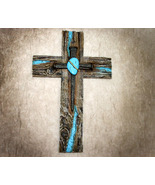 Western Country Styled Inspirational Cross with Nails and Turquoise Stone - $22.99