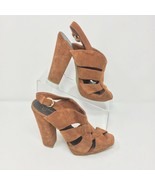 Jessica Simpson Boho Platform Sandals, Size 10, Golden Brown Suede - $30.48