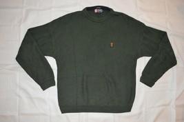 Mens Chaps Ralph Lauren Pullover Knit Crewneck Sweater ~Hand Framed ~Sz L ~Green - $24.74