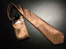 Egon Von Furstenberg Neck Tie and Pocket Square Brown with Blue Gold Accents - $12.99