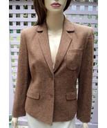 EMANUEL UNGARO Flecked Caramel Brown Tweed Wool/Silk Dress Jacket (6) NEW - $68.50