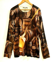 2XL Get A Life 100% Polyester Graphic Beer Barrel Long Sleeve Shirt - £19.35 GBP