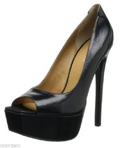 Nine West Prettyprim Peep-Toe Extra High Pump Black Leather 9.5M NIB Shi... - $59.39