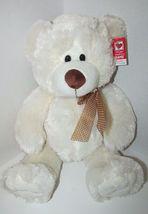 "Ganz Plush large cream stuffed teddy bear brown nose polka dot bow 13-18"" w/ tag image 3"