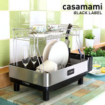 Casamami Black Label 2 Layer Kitchen Dish Drying Rack with Drainer Made in Korea image 3