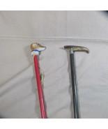 Pair Vintage/Antique Porcelain Dog Head Walking Stick & Silver Band Beak... - $60.78