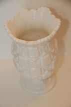 "WHITE MILK GLASS WESTMORELAND CELERY VASE OLD QUILT SCALLOPED RIM 6.5"" T... - $44.99"