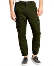 NEW LEVI'S MEN BANDED CARGO CHINO JOGGER STRETCH PANTS SLIM FIT GREEN 246750010