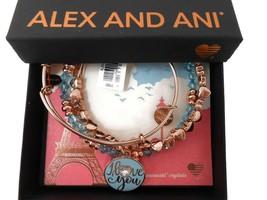Alex and Ani I Love You Set of 3 Bangle Bracelets Shiny Rose Gold NWT Box Card - $89.09
