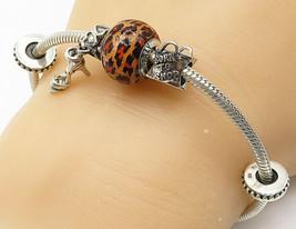 QG 925 Silver - Vintage Cheetah Print Bead Charmed Chain Bracelet - B4665 - $65.36
