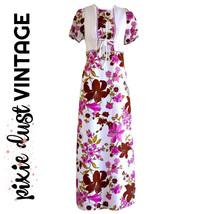 Vintage Dress Maxi 60s Long Floral Purple 1960s Maxidress Boho Ankle Siz... - $39.47