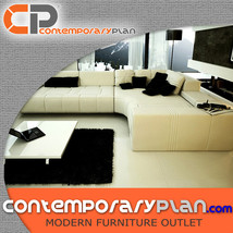 Contemporary Franco Collection White Leather Sectional Sofa w Black Pill... - $2,995.00