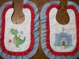 "Bibs Handcrafted XStitched - Decorated & Backed ""BRAVE KNIGHT"" matches q... - $39.99"