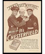 Chesterfield Cigarettes AD 1943 Military Uniforms Army Navy Marines  - $14.99