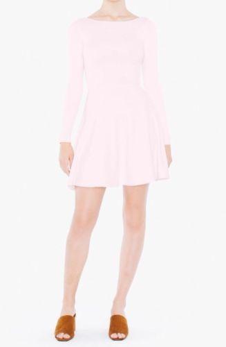 American Apparel Ponte Long Sleeve Skater Dress Warehouse Light Pink Large