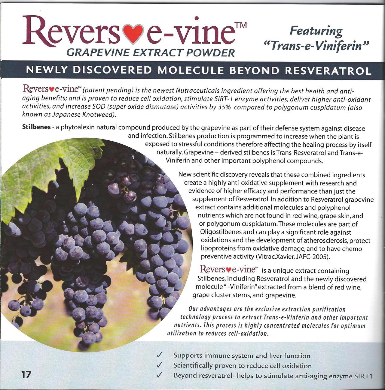 REVERS♥E-VINE- GRAPEVINE ANTIOXIDANT FEATURING TRANS-e-VINIFERIN