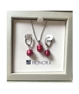 Honora Cultured Freshwater Pearl Necklace & Earrings Set Red NEW Gift Bo... - $51.43