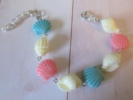 Colorful Faux Coral Seashell Bracelet, Beach Bracelet, Seashore Bracelet - $9.99