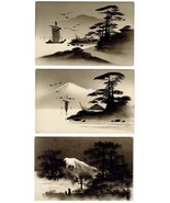 5 Gorgeous Vintg Hand Painted Scenic Japanese Postcards - $19.95