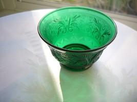 Anchor Hocking Forest Green Sandwich Glass Custard Cup - $14.85