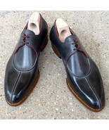 Goodyear Welted Men's Italian Black Grey Leather Oxford Lace up Leather ... - $149.99+
