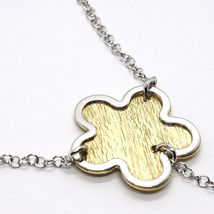 SILVER 925 NECKLACE, CHAIN ROLO', FLOWER, DAISIES HANGING, BICOLOR image 3
